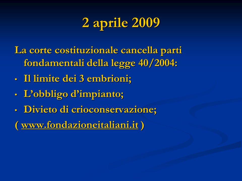 2 aprile 2009 La corte costituzionale cancella parti fondamentali della legge 40/2004: Il limite dei 3 embrioni; Il limite dei 3 embrioni; Lobbligo di