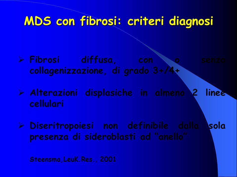 MDS con fibrosi: criteri diagnosi Fibrosi diffusa, con o senza collagenizzazione, di grado 3+/4+ Alterazioni displasiche in almeno 2 linee cellulari D