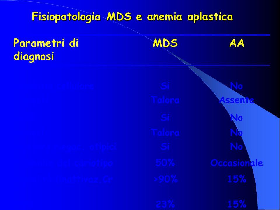 Fisiopatologia MDS e anemia aplastica Parametri di diagnosi MDSAA Displasia cellulareSiNo blastiTaloraAssente ALIPSiNo FibrosiTaloraNo Clusters megac.