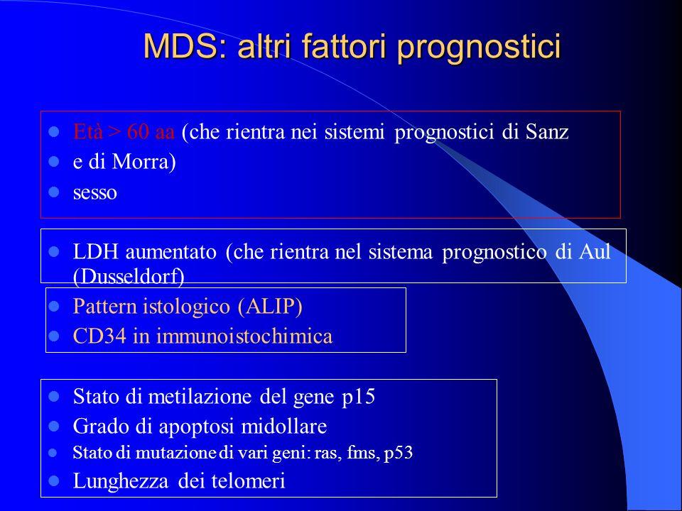 MDS: altri fattori prognostici Età > 60 aa (che rientra nei sistemi prognostici di Sanz e di Morra) sesso LDH aumentato (che rientra nel sistema progn