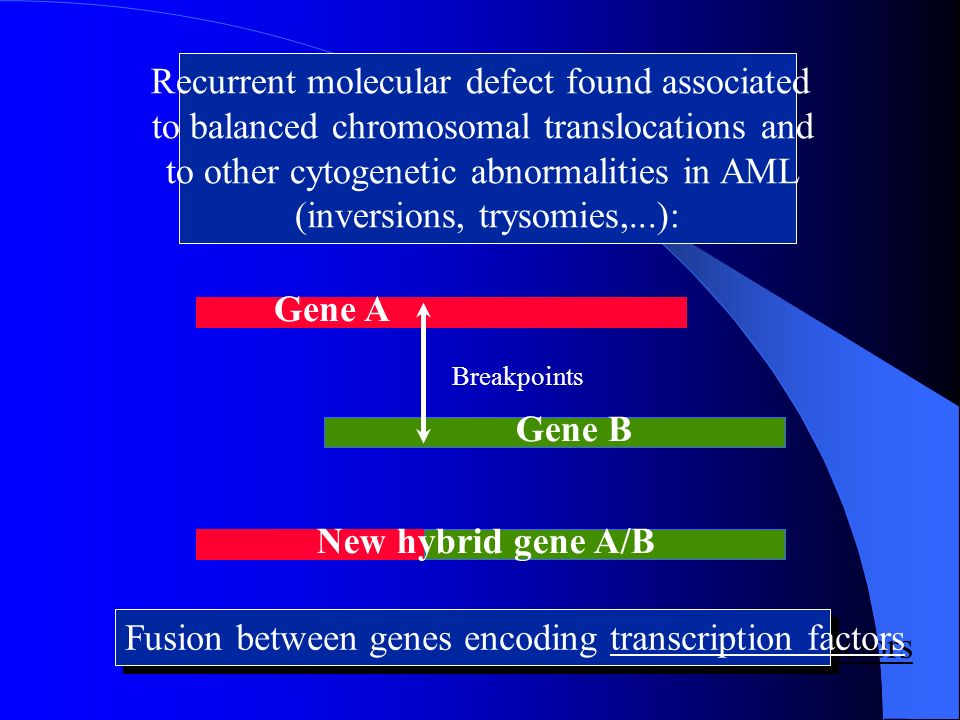 Recurrent molecular defect found associated to balanced chromosomal translocations and to other cytogenetic abnormalities in AML (inversions, trysomie