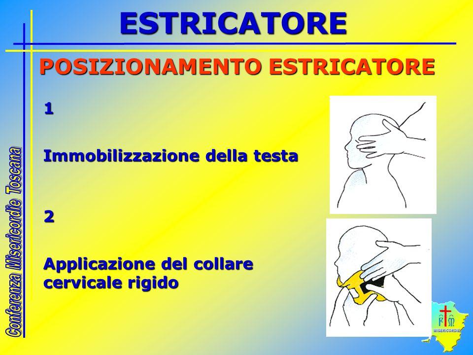 1 Immobilizzazione della testa POSIZIONAMENTO ESTRICATORE 2 Applicazione del collare cervicale rigido ESTRICATORE