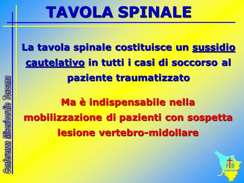 La tavola spinale costituisce un sussidio cautelativo in tutti i casi di soccorso al paziente traumatizzato Ma è indispensabile nella mobilizzazione d