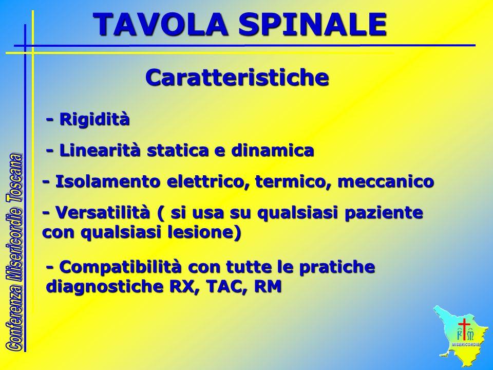 Caratteristiche - Rigidità - Linearità statica e dinamica - Isolamento elettrico, termico, meccanico - Versatilità ( si usa su qualsiasi paziente con