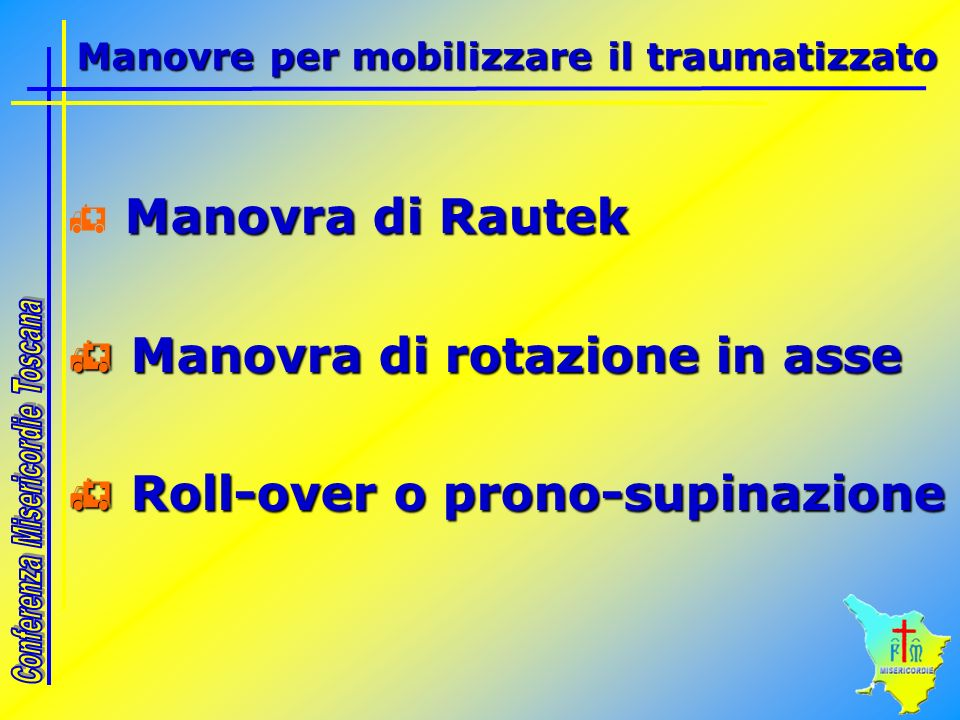 Manovra di Rautek Manovra di rotazione in asse Manovra di rotazione in asse Roll-over o prono-supinazione Roll-over o prono-supinazione Manovre per mo