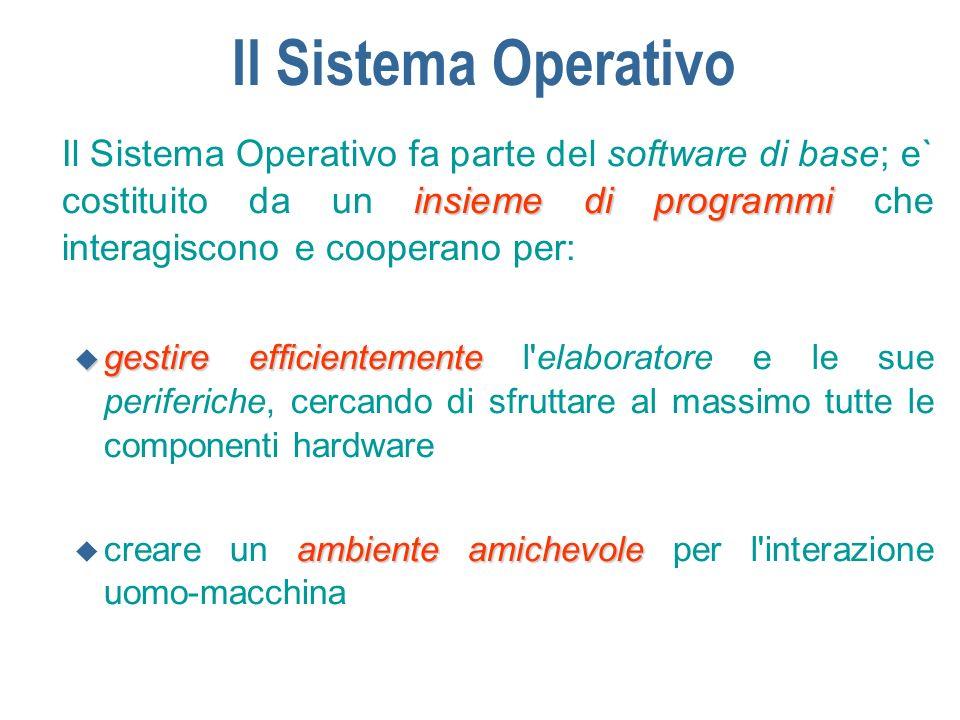 Il Sistema Operativo insieme di programmi Il Sistema Operativo fa parte del software di base; e` costituito da un insieme di programmi che interagisco