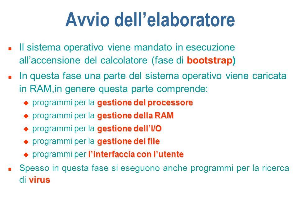 Avvio dellelaboratore n Il sistema operativo viene mandato in esecuzione allaccensione del calcolatore (fase di bootstrap) n In questa fase una parte