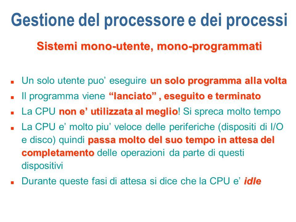 Gestione del processore e dei processi Sistemi mono-utente, mono-programmati un solo programma alla volta n Un solo utente puo eseguire un solo progra