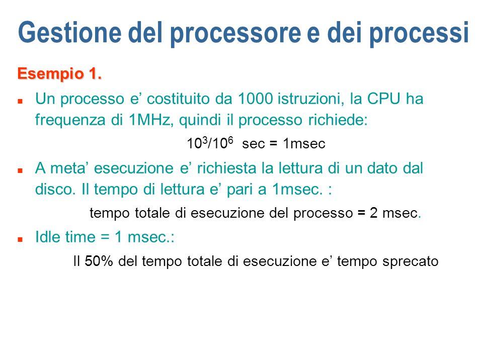 Gestione del processore e dei processi Esempio 1. n Un processo e costituito da 1000 istruzioni, la CPU ha frequenza di 1MHz, quindi il processo richi