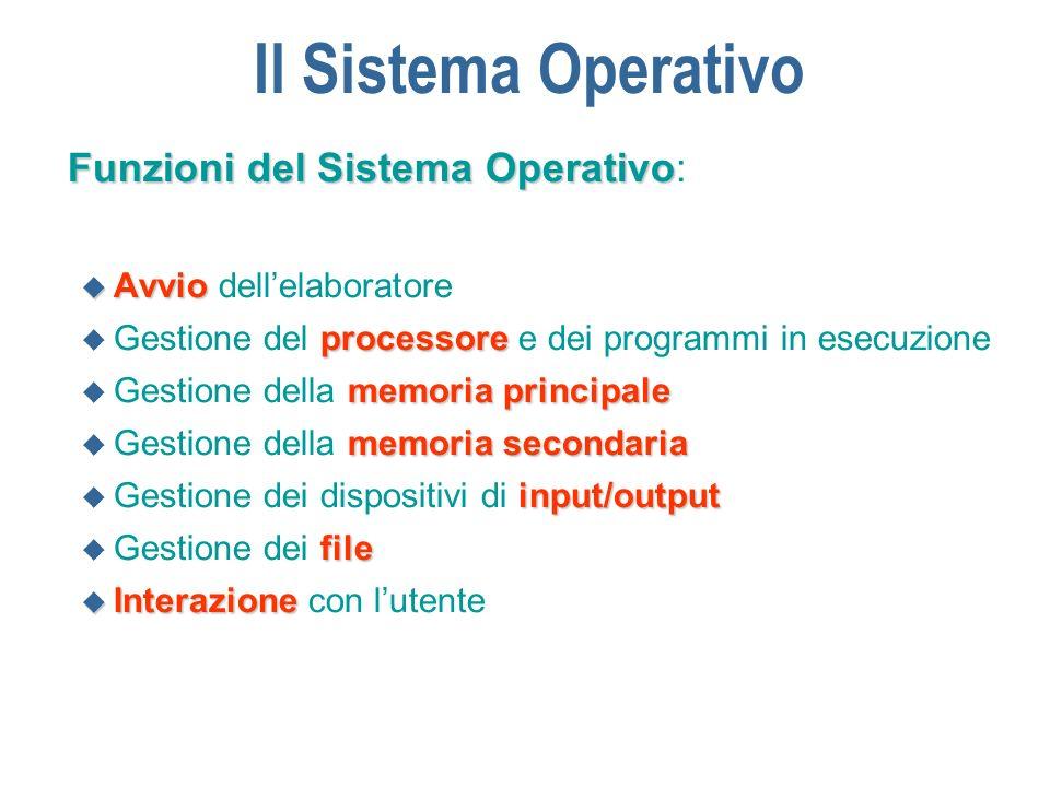 Il Sistema Operativo n Tipologie di SO: mono-utentemulti-utente u sistemi mono-utente - sistemi multi-utente i sistemi mono- utente sono destinati ad elaboratori per usi personale (tipo PC) mentre i sistemi multi-utente sono destinati ad elaboratori utilizzati da piu` utenti contemporaneamente mono-programmati multi-programmati u sistemi mono-programmati - sistemi multi-programmati i sistemi mono- programmati gestiscono l esecuzione di un solo programma alla volta, mentre i sistemi multi-programmati gestiscono piu` programmi contemporaneamente interattivi batch u sistemi interattivi - sistemi batch classificazione basata sull interazione con lutente