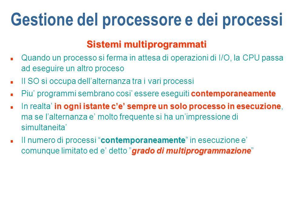 Gestione del processore e dei processi Sistemi multiprogrammati n Quando un processo si ferma in attesa di operazioni di I/O, la CPU passa ad eseguire