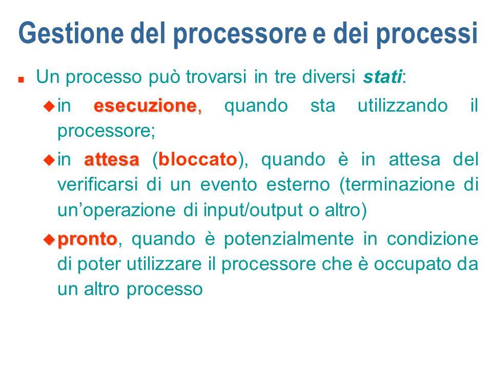 Gestione del processore e dei processi n Un processo può trovarsi in tre diversi stati: esecuzione, u in esecuzione, quando sta utilizzando il process