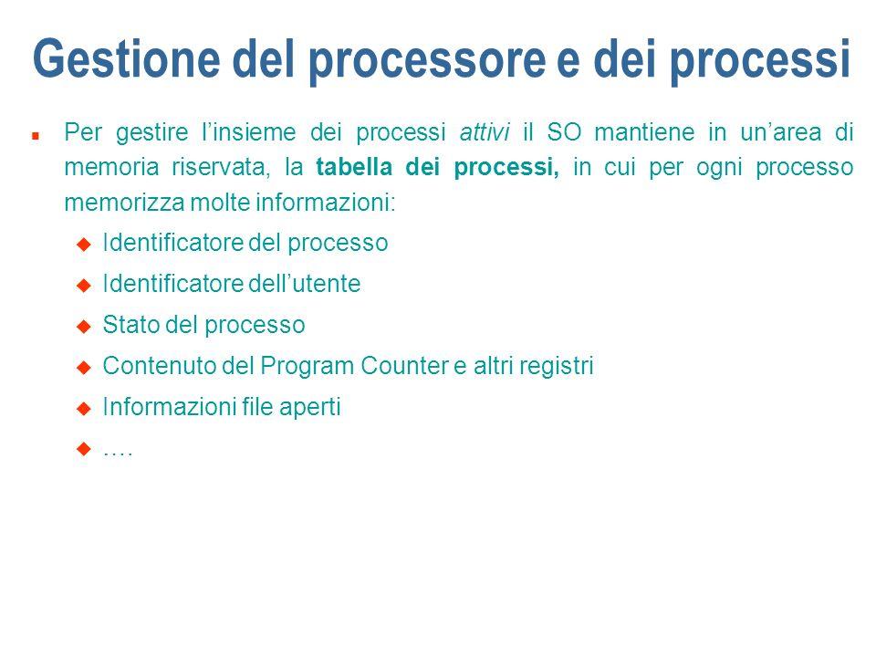 Gestione del processore e dei processi n Per gestire linsieme dei processi attivi il SO mantiene in unarea di memoria riservata, la tabella dei proces