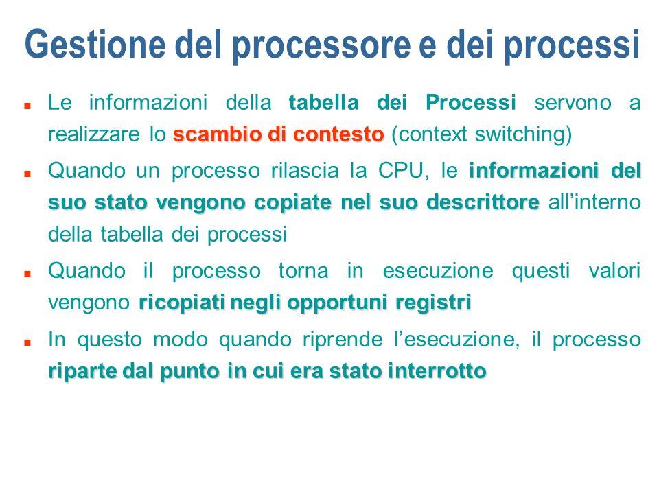 Gestione del processore e dei processi scambio di contesto n Le informazioni della tabella dei Processi servono a realizzare lo scambio di contesto (c