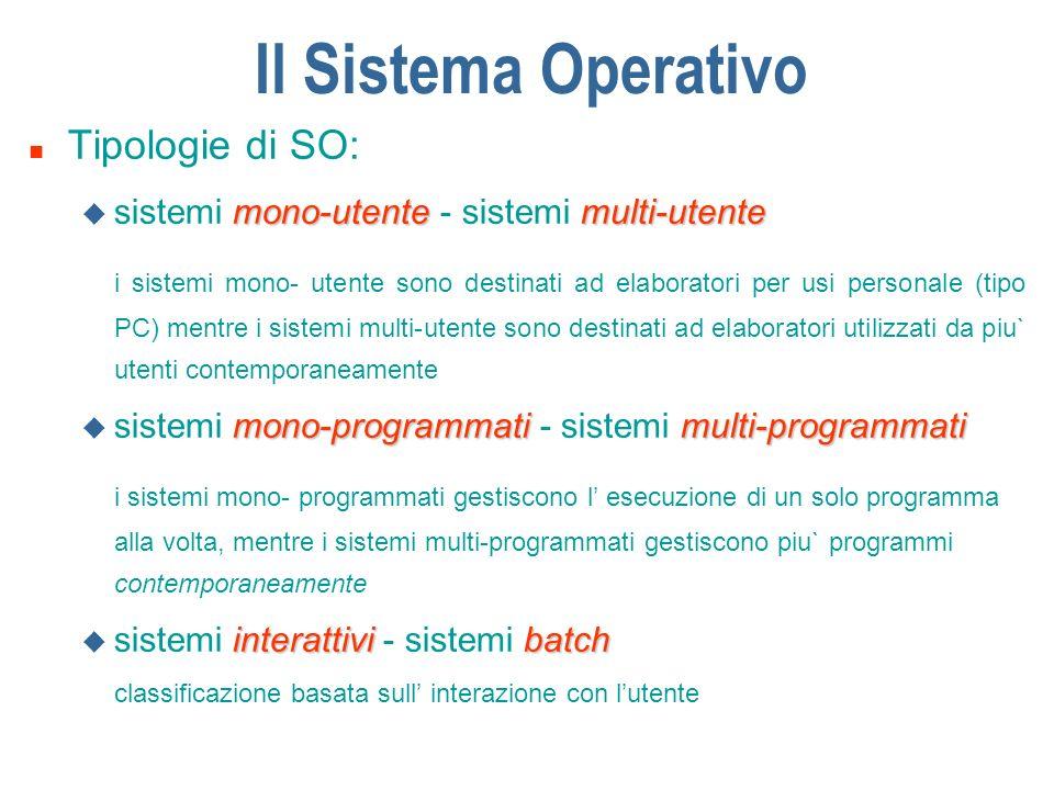 Il Sistema Operativo n Tipologie di SO: mono-utentemulti-utente u sistemi mono-utente - sistemi multi-utente i sistemi mono- utente sono destinati ad