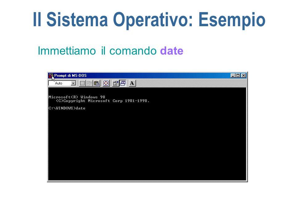 Il Sistema Operativo: Esempio Immettiamo il comando date