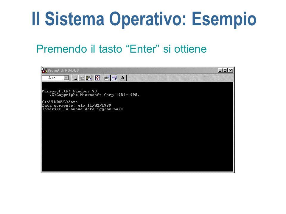 Il Sistema Operativo: Esempio Premendo il tasto Enter si ottiene