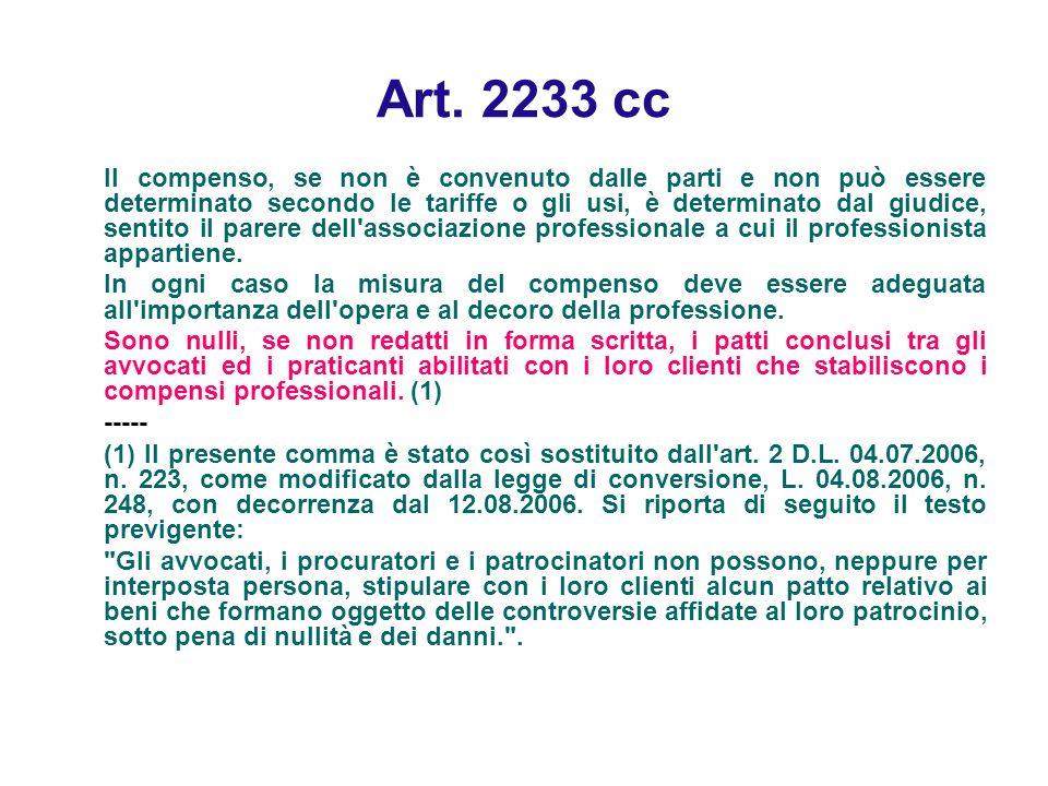Art. 2233 cc Il compenso, se non è convenuto dalle parti e non può essere determinato secondo le tariffe o gli usi, è determinato dal giudice, sentito