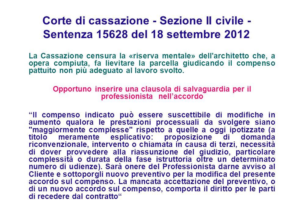 Corte di cassazione - Sezione II civile - Sentenza 15628 del 18 settembre 2012 La Cassazione censura la «riserva mentale» dell architetto che, a opera compiuta, fa lievitare la parcella giudicando il compenso pattuito non più adeguato al lavoro svolto.