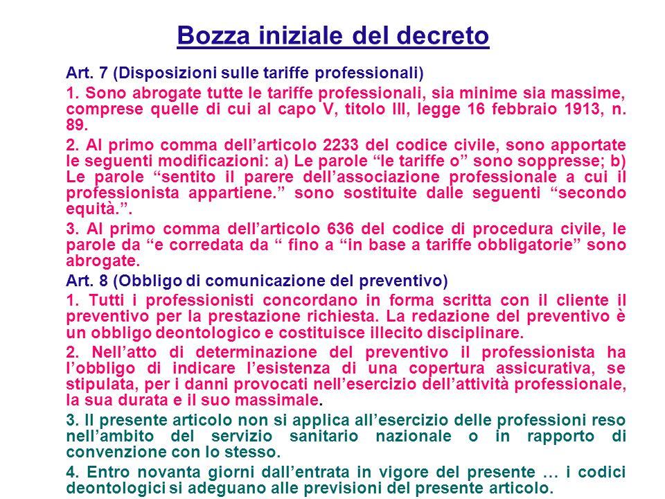 Bozza iniziale del decreto Art. 7 (Disposizioni sulle tariffe professionali) 1.