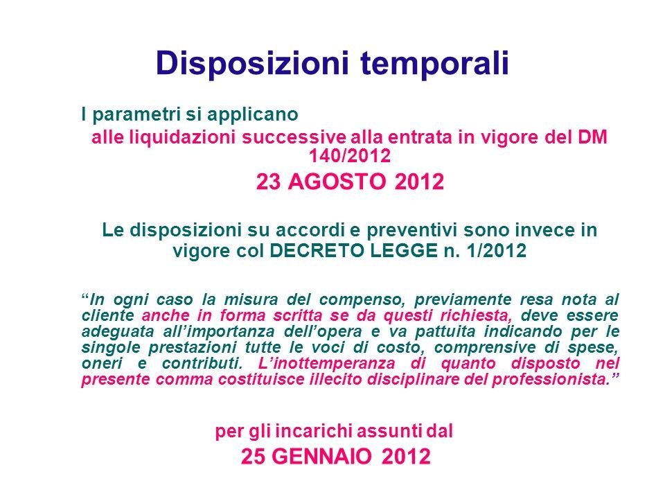 Disposizioni temporali I parametri si applicano alle liquidazioni successive alla entrata in vigore del DM 140/2012 23 AGOSTO 2012 Le disposizioni su accordi e preventivi sono invece in vigore col DECRETO LEGGE n.