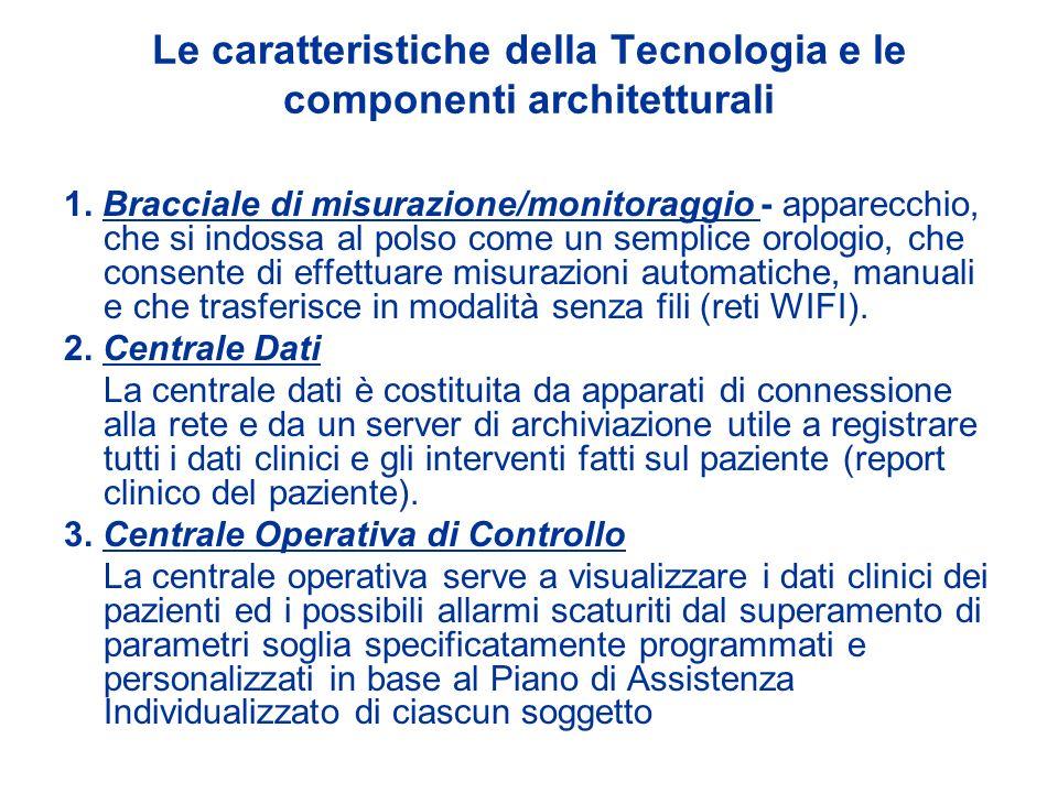 Le caratteristiche della Tecnologia e le componenti architetturali 1. Bracciale di misurazione/monitoraggio - apparecchio, che si indossa al polso com
