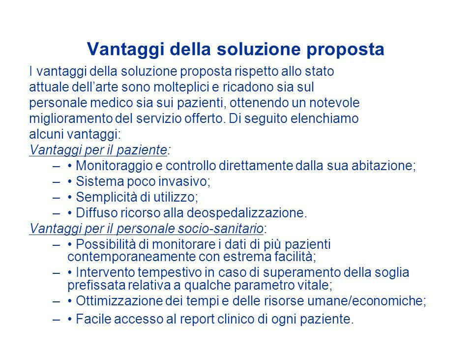 Vantaggi della soluzione proposta I vantaggi della soluzione proposta rispetto allo stato attuale dellarte sono molteplici e ricadono sia sul personal