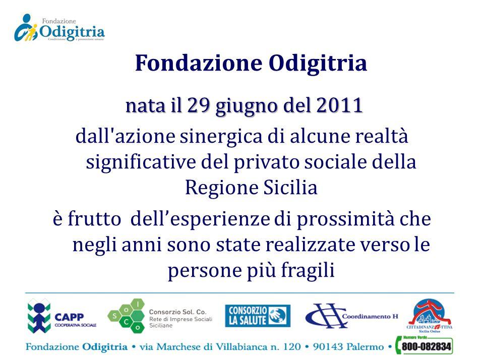 Fondazione Odigitria nata il 29 giugno del 2011 dall'azione sinergica di alcune realtà significative del privato sociale della Regione Sicilia è frutt