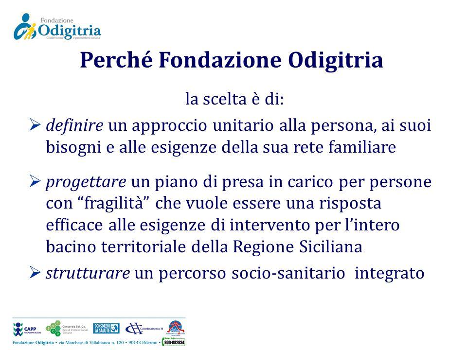 Perché Fondazione Odigitria la scelta è di: definire un approccio unitario alla persona, ai suoi bisogni e alle esigenze della sua rete familiare prog