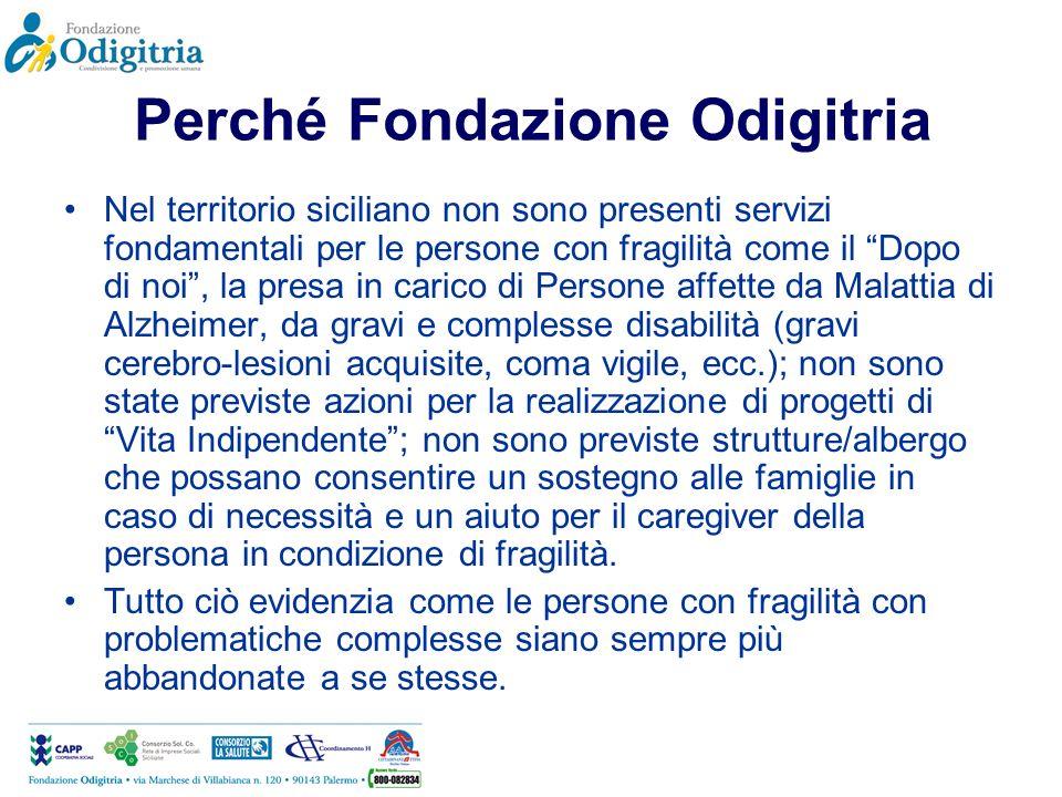 Perché Fondazione Odigitria Nel territorio siciliano non sono presenti servizi fondamentali per le persone con fragilità come il Dopo di noi, la presa