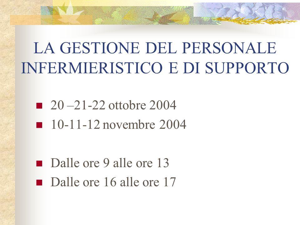 LA GESTIONE DEL PERSONALE INFERMIERISTICO E DI SUPPORTO 20 –21-22 ottobre 2004 10-11-12 novembre 2004 Dalle ore 9 alle ore 13 Dalle ore 16 alle ore 17