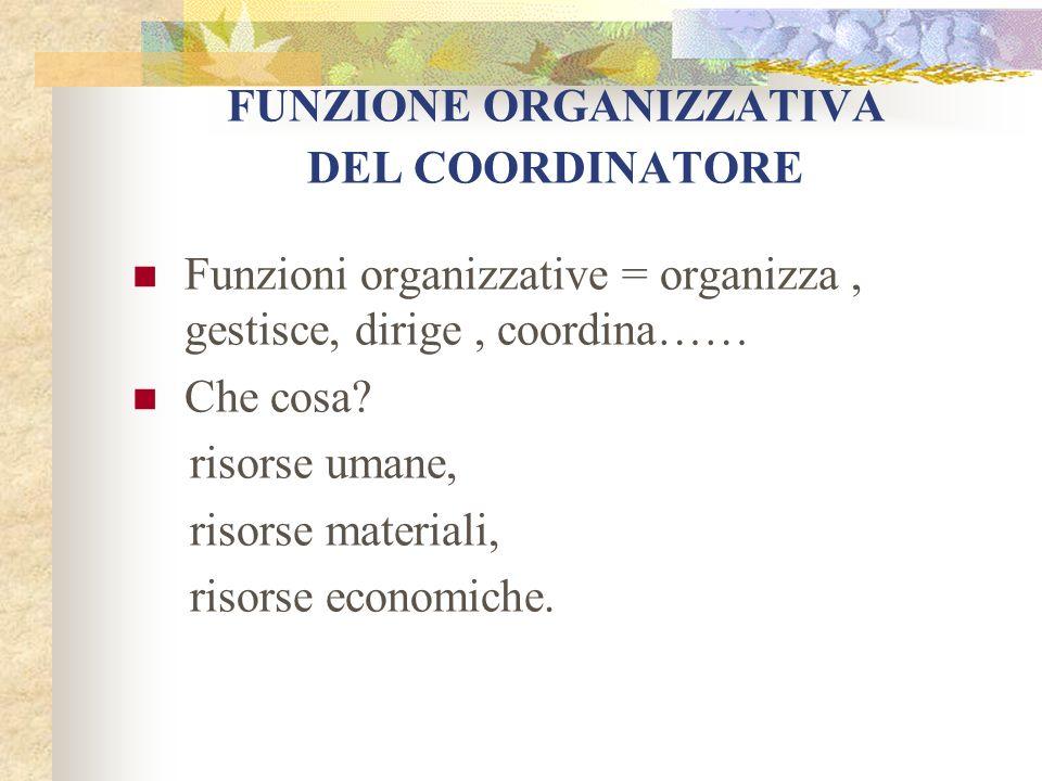 FUNZIONE ORGANIZZATIVA DEL COORDINATORE Funzioni organizzative = organizza, gestisce, dirige, coordina…… Che cosa? risorse umane, risorse materiali, r