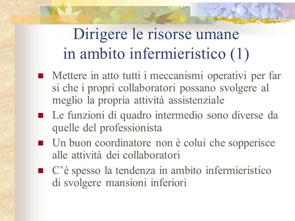 Dirigere le risorse umane in ambito infermieristico (1) Mettere in atto tutti i meccanismi operativi per far si che i propri collaboratori possano svo