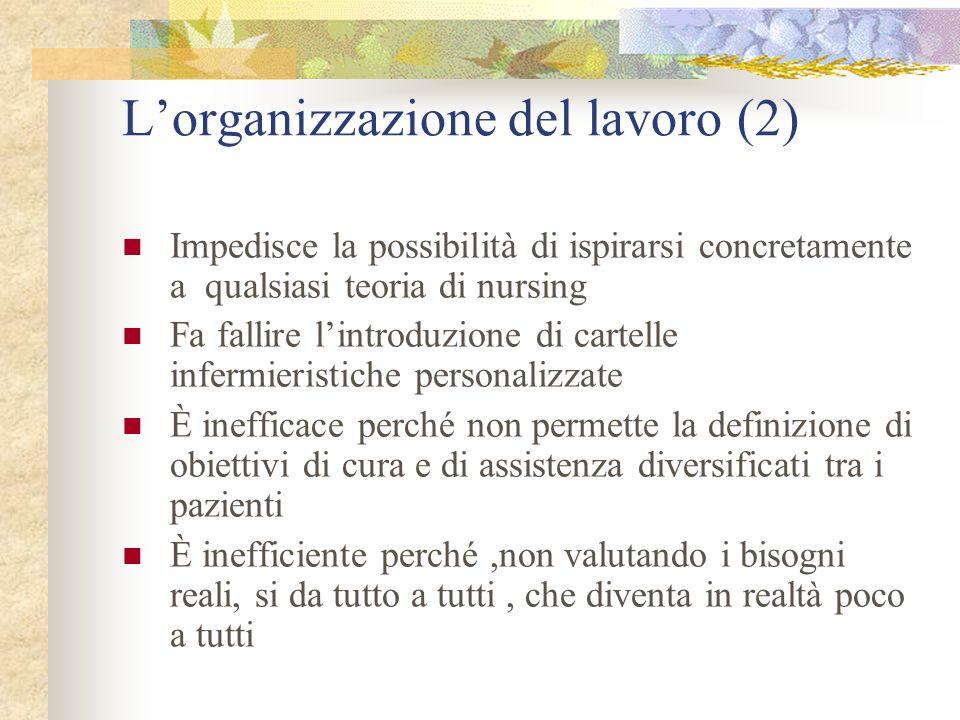 Lorganizzazione del lavoro (2) Impedisce la possibilità di ispirarsi concretamente a qualsiasi teoria di nursing Fa fallire lintroduzione di cartelle