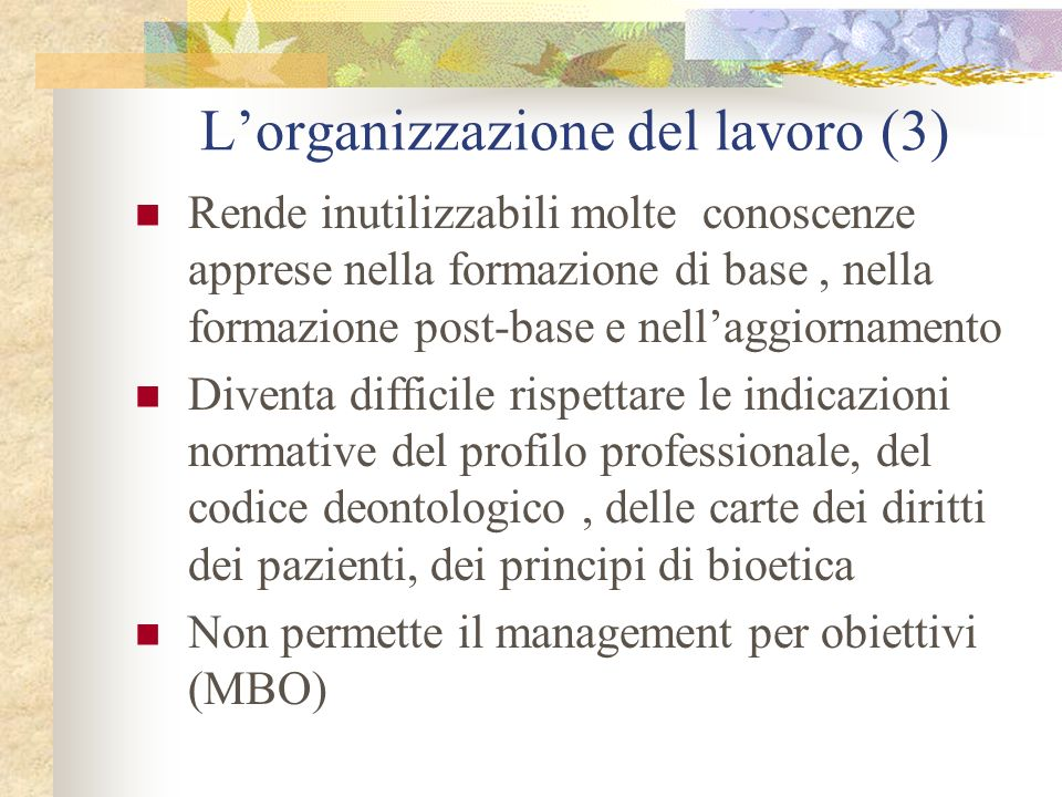 Lorganizzazione del lavoro (3) Rende inutilizzabili molte conoscenze apprese nella formazione di base, nella formazione post-base e nellaggiornamento