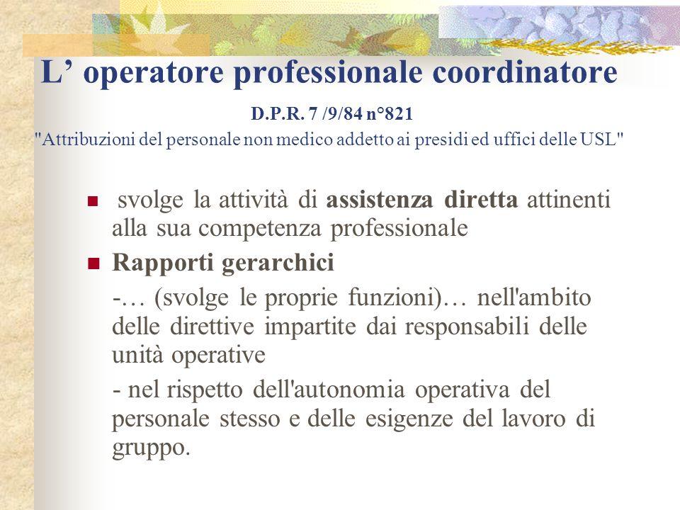 Funzioni delloperatore professionale coordinatore D.P.R.