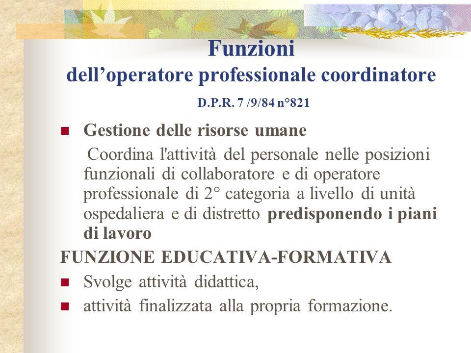 Funzioni delloperatore professionale coordinatore D.P.R. 7 /9/84 n°821 Gestione delle risorse umane Coordina l'attività del personale nelle posizioni