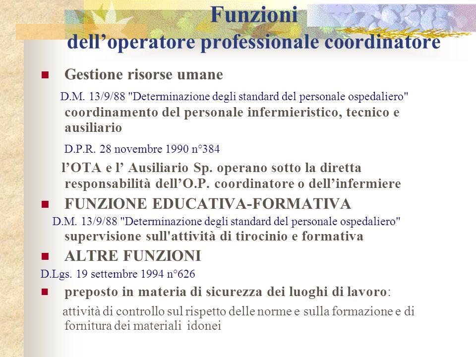 Funzioni delloperatore professionale coordinatore Gestione risorse umane D.M. 13/9/88