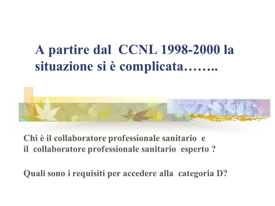 A partire dal CCNL 1998-2000 la situazione si è complicata…….. Chi è il collaboratore professionale sanitario e il collaboratore professionale sanitar