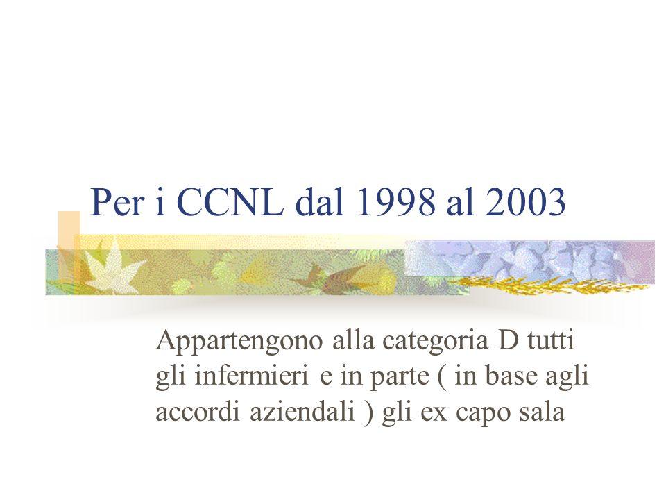 Per i CCNL dal 1998 al 2003 Appartengono alla categoria D tutti gli infermieri e in parte ( in base agli accordi aziendali ) gli ex capo sala