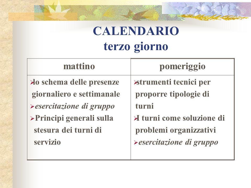 CALENDARIO terzo giorno mattinopomeriggio lo schema delle presenze giornaliero e settimanale esercitazione di gruppo Principi generali sulla stesura d