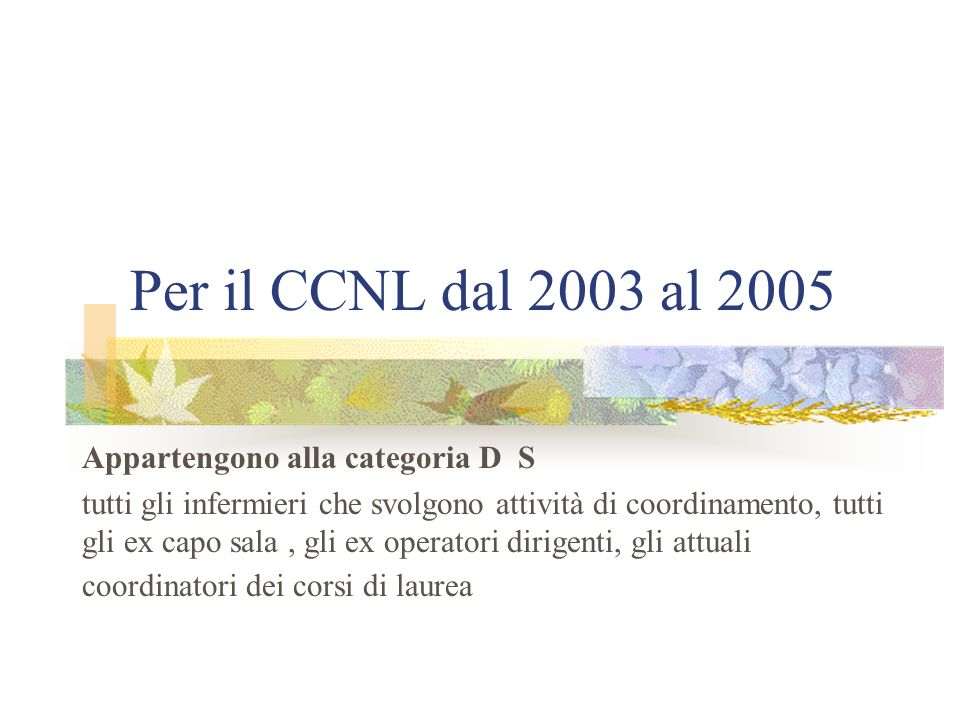 Per il CCNL dal 2003 al 2005 Appartengono alla categoria D S tutti gli infermieri che svolgono attività di coordinamento, tutti gli ex capo sala, gli