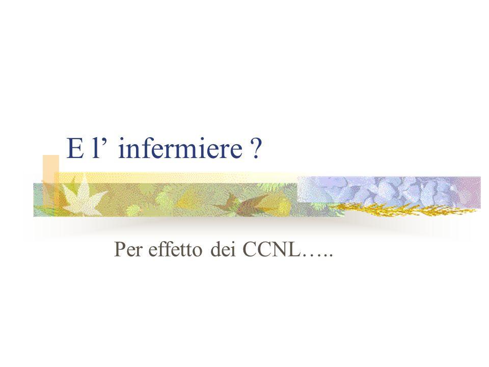 E l infermiere ? Per effetto dei CCNL…..