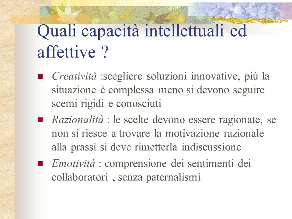 Quali capacità intellettuali ed affettive ? Creatività :scegliere soluzioni innovative, più la situazione è complessa meno si devono seguire scemi rig