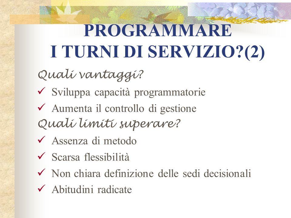 PROGRAMMARE I TURNI DI SERVIZIO?(2) Quali vantaggi? Sviluppa capacità programmatorie Aumenta il controllo di gestione Quali limiti superare? Assenza d