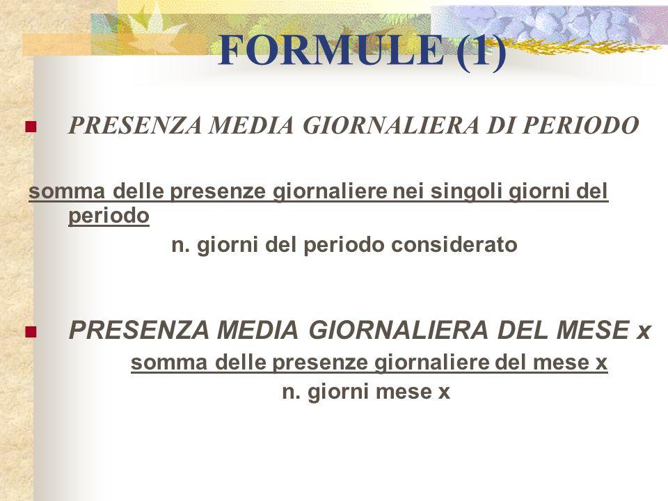 FORMULE (1) PRESENZA MEDIA GIORNALIERA DI PERIODO somma delle presenze giornaliere nei singoli giorni del periodo n. giorni del periodo considerato PR