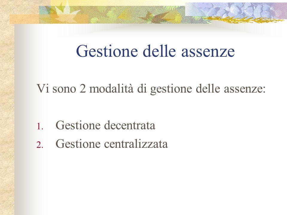 Gestione delle assenze Vi sono 2 modalità di gestione delle assenze: 1. Gestione decentrata 2. Gestione centralizzata
