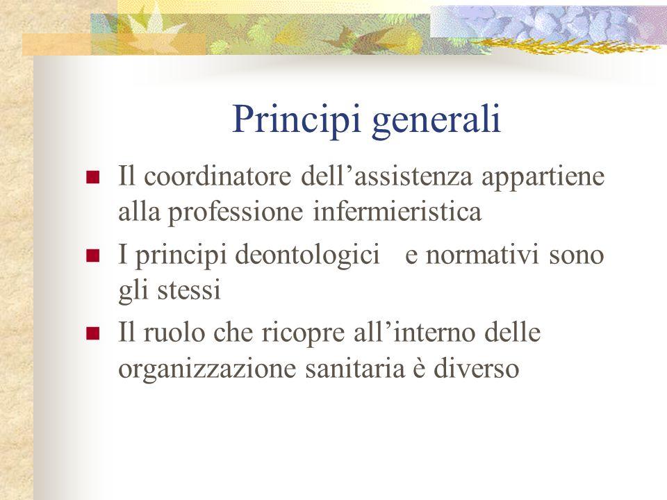 Principi generali Il coordinatore dellassistenza appartiene alla professione infermieristica I principi deontologici e normativi sono gli stessi Il ru