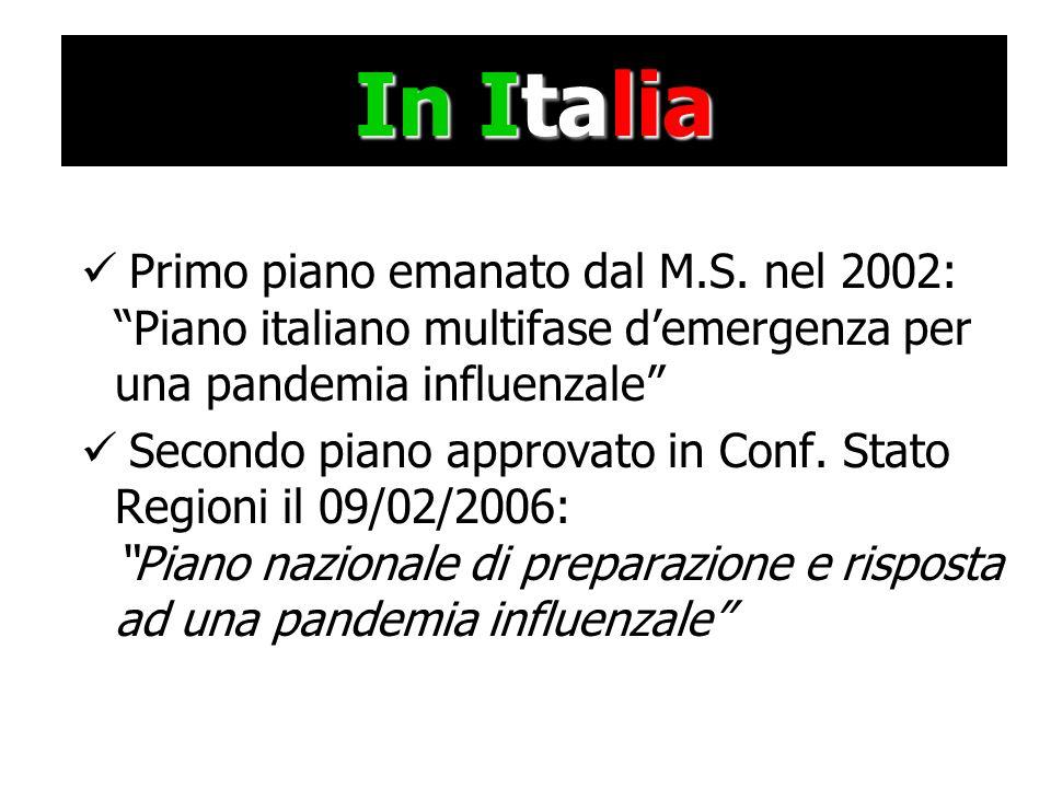 In Italia Primo piano emanato dal M.S. nel 2002: Piano italiano multifase demergenza per una pandemia influenzale Secondo piano approvato in Conf. Sta