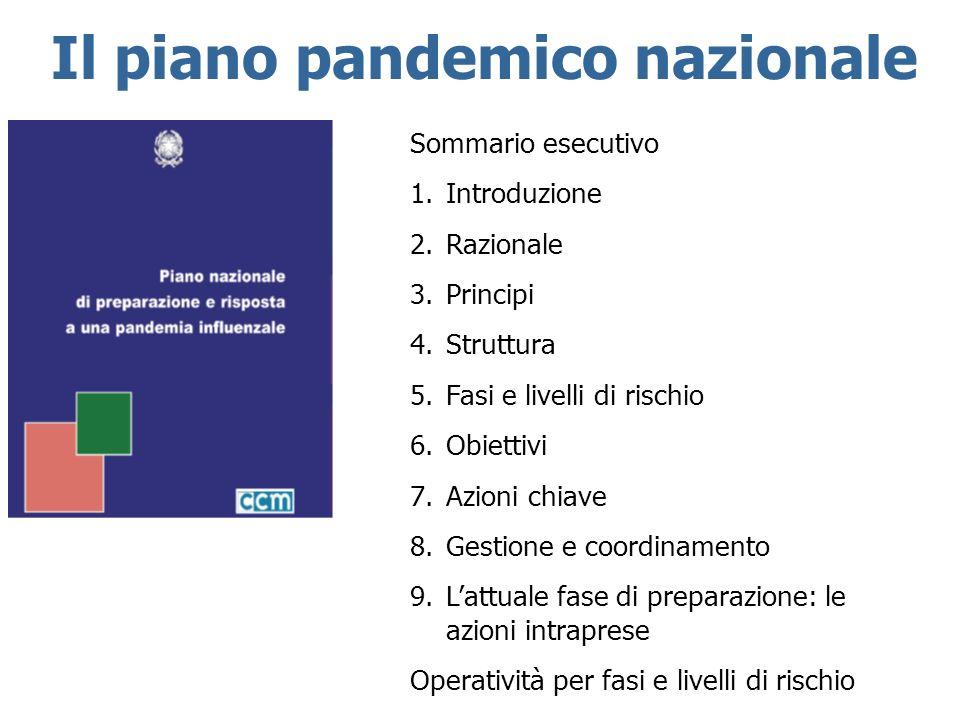 Il piano pandemico nazionale Sommario esecutivo 1.Introduzione 2.Razionale 3.Principi 4.Struttura 5.Fasi e livelli di rischio 6.Obiettivi 7.Azioni chi